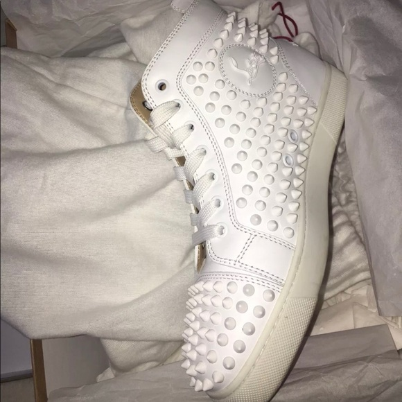 online store e18a8 0d6b1 Christian Louboutin high top white spike sneakers